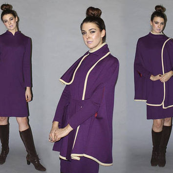Vintage 60s Wool CAPE and Dress MATCHING SET / Mod Royal Purple A Line Dress / Winter Poncho, Coat / Sash Collar / Holiday Party, New Years