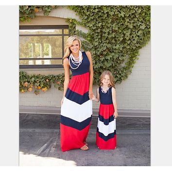 Mother Daughter Matching Long Maxi Dress - Red, White, Blue - Short Sleeve