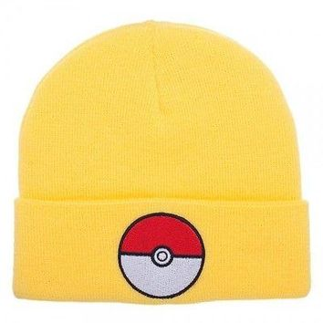 POKEMON POKEBALL YELLOW CUFF Knit Beanie Cap (400124)
