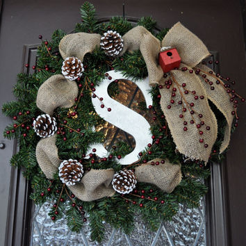 Christmas Wreath, Holiday Wreath, Decoration, Rustic, Monogramed, Personalized, burlap, berries