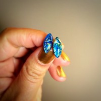 Blue Fire Opal Vintage Glass Studs Small Earrings marquis Tiny studs