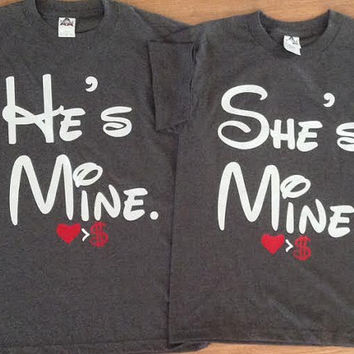 Free  Shipping For He's Mine/She's Mine matching couples shirts