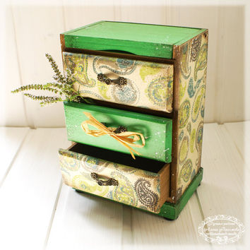 Minty paisley - oriental style  wooden Mini chest drawers, Vintage look
