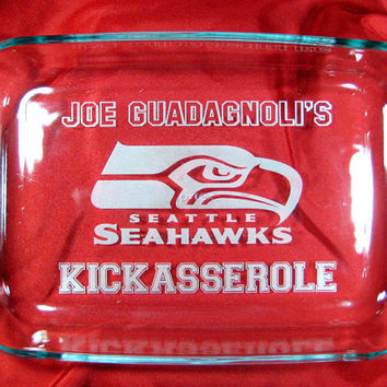 "Game Day Kickasserole, Seahawks Personalized 9""x13"" Pyrex Baking Dish"