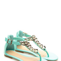 Mint Faux Leather T Strap Chained Up Sandals