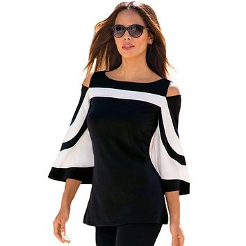 Woman's Bell Sleeve Cold Shoulder Top