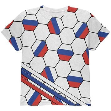 World Cup Russia Soccer Ball All Over Youth T Shirt