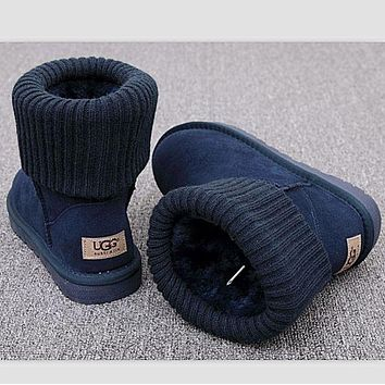 UGG Boots Women Boots Winter Warm Fashion Thread curl boots Navy blue