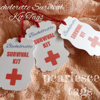 CUSTOM Bachelorette Survival Kit Tags with Personal Message on Back - Pearl White