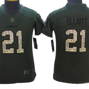 KUYOU Dallas Cowboys Jersey - Ezekiel Elliot Salute To Service Jersey - YOUTH