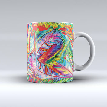 The Vibrant Colorful Feathers ink-Fuzed Ceramic Coffee Mug