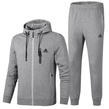 ADIDAS 2018 autumn and winter new plus velvet casual hooded jacket sweater two-piece grey