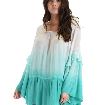 SL3655 Jade Long  Bell Sleeve Peasant Top With Ombre Dip Dye And Waist Drawstring