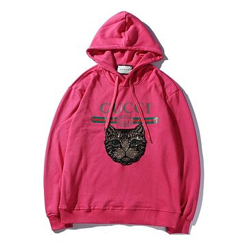 GUCCI sequin embroidery cat head men and women models wild hooded sweater F-A-KSFZ Rose red