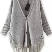 Grey V Neck Buttoned Knit Fringed Long Sleeve Cardigan