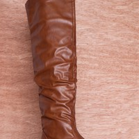 CA Collection by Carrini Reaching New Heights Faux Leather Ruched Over The Knee Boots 18-095 - Cognac