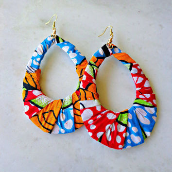 African Wax Fabric Hoop Earrings - Multi Color Fabric Jewelry, Boho Chic Jewelry, Statement Jewelry