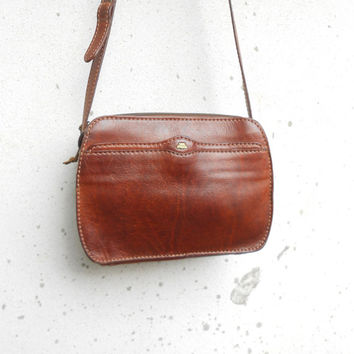 Vintage Leather Bag THE BRIDGE No. 037733 Chesnut Brown Leather Crossbody Bag , Leather Purse / Small / Made in Italy / Gift for Her