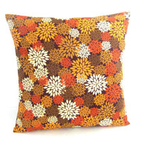 Floral Cushion Cover, Decorative Toss Pillow, Modern Floral Print, Fall Colors