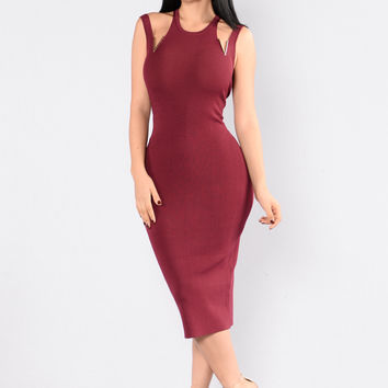 Someone Like Me Dress - Burgundy