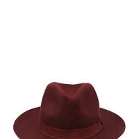 FOREVER 21 Wool Panama Hat Burgundy