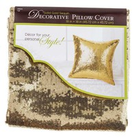 "18"" x 18"" Gold Sequin Pillow Cover 