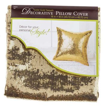 """18"""" x 18"""" Gold Sequin Pillow Cover 