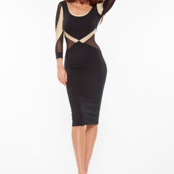 Quontum Black/gold mesh midi dress