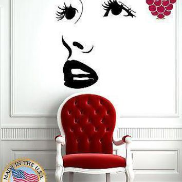 Wall Stickers Vinyl Decal Hot Sexy Girl Face Full Lips Big Eye Lashes Unique Gift EM575