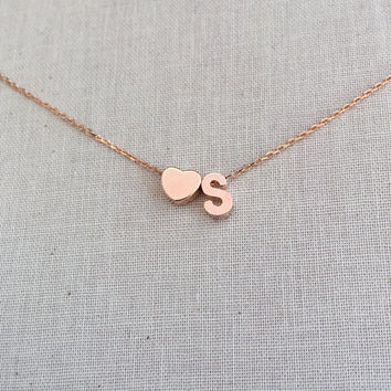 Small Block Heart and Personalized Uppercase Initial Necklace in Rose Gold