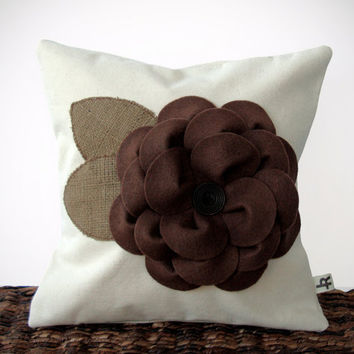 "12"" Cream PILLOW COVER Chocolate Brown Felt Flower Olive Burlap Leaves Cottage Autumn Decor by JillianReneDecor Gift for Her Under 50"