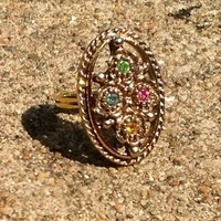 Vintage Victorian Emmons Gold Filigree Topaz Crystals Cocktail Ring