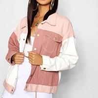 Pink Cololur Block Denim Jacket | Boohoo