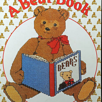 Craft Supplies - OOP Pat and Gloria Teddy Bear Counted Cross Stitch Pattern Book - 26 Designs - Fun - Easy - 1988
