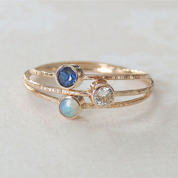 Sapphire Ring, Opal Ring, Moissanite Ring, Gold Ring Set, Stack Ring Set, Wedding Ring, Engagement Ring, Stackable Rings, Personalized Rings