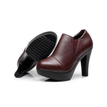 Women's Shoes Split Leather Platform High Heels Office Lady Court Shoes Zapato Femenino Black Brown