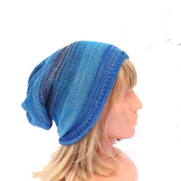 knitted cotton hat, knit adult blue cloche, knitting striped colorful cap, summer hat, women beanie, men cap, handmade accessories, tam