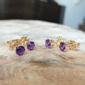 Amethyst Earrings, Amethyst Earrings Gold, Gold Amethyst Stud Earrings, Amethyst Stud Earrings, Amethyst Earrings Stud, Amethyst
