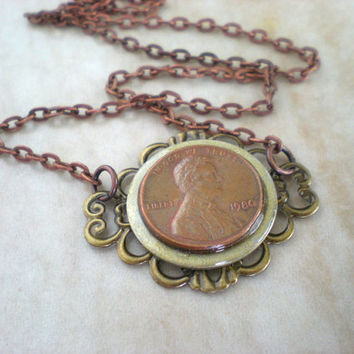 Penny Necklace: Woman's Lucky Penny Necklace - Lucky Jewelry - Penny Jewelry - Unique Jewelry - Washer Jewelry