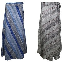 Mogul Interior 2pc Womens Beach Maxi Wrap Skirt Dresses Sarong Printed Rayon Cover up One Size