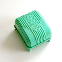 Vintage Ring Box Art Deco Style Turquoise Blue Plastic Presentation Box for Engagement Ring or Wedding Band