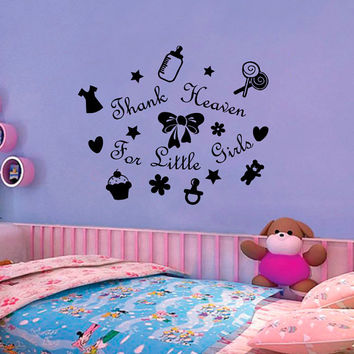 Vinyl Decals  Thank Heaven for Little Girl Star Heart Toy Home Wall  Decor Removable Sticker Mural L645 Unique Design Nursery Bed Room