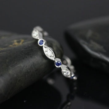 Bead & Eye 14kt White Gold Vintage Sapphire and Diamond Eternity Band (Other Metals and Stone Options Available)