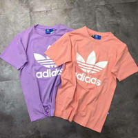 Adidas print short sleeve man women tee top T-shirt H-YF-MLBKS