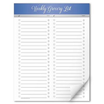 "Blue Header Full Page Weekly Grocery List - 8.5"" x 11"" Notepad"
