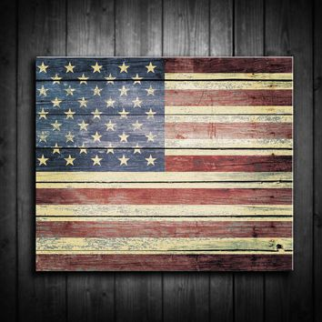 Rustic American Flag Canvas Print - Multiple Sizes!