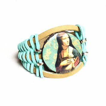 Woman and Weasel Leather Bracelet