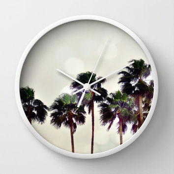 Wall Clock, Coconut Palm Trees Boho Beach Tiki Surf Decor Clock, Light Gray Bokeh Print Tropical Art Hanging, Black White or Natural Frame