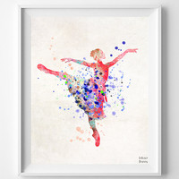 Ballerina Print, Watercolor Art, Nursery Poster, Type 2, Nursery Decor, Bedroom Decor, Girl Ballerina, Children Room Art, Wall Art Prints