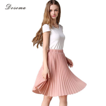 Pleated Skirt Summer 2016 European Style Elegant Tulle Pleated Skirt Blue Chiffon Skirt Women's Vintage Pink Midi Skirt Black